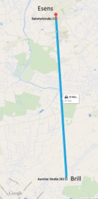Schnurgerade über fast neun Kilometer verläuft die Landesstraße 8 zwischen Esens und Brill.