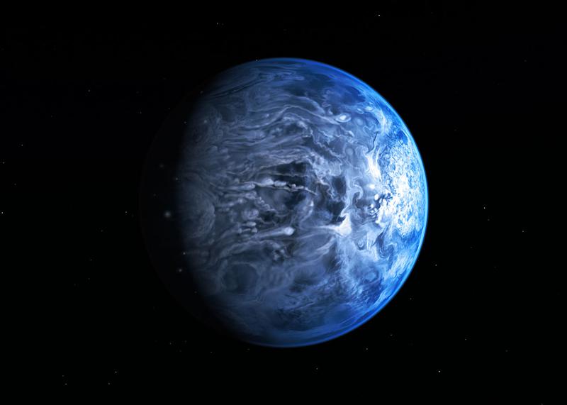 Der Exoplanet HD 189733b ist ein jupiterähnlicher Himmelskörper in einer sonnennahen Umlaufbahn. Es handelt sich hier natürlich um eine künstlerische Darstellung. Bild: Nasa/Esa, M. Kornmesser