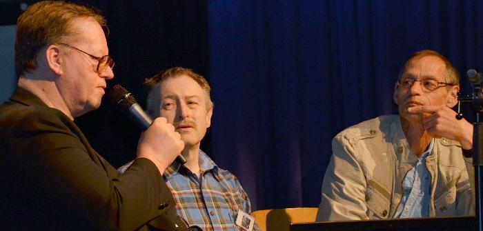Helmut Keßer (Mitte) - hier im Gespräch mit Arndt Ellmer (links) und Klaus Bollhöfener - war einer der Organisatoren des 1. Perry-Rhodan-Tags in Osnabrück.