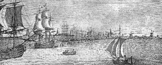 Ansicht des Emder Hafens von 1810 (Stich von G. A. Lehmann)